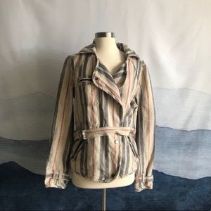 Free People Blue Red Striped Linen Utility Jacket